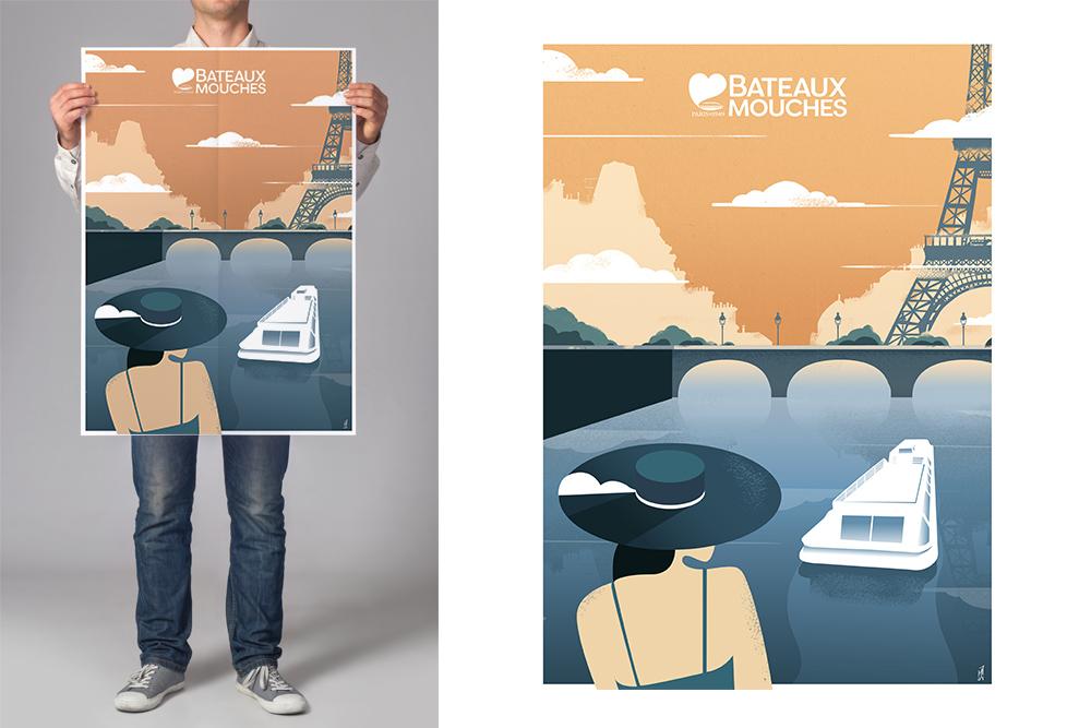 tristan barbier illustration bateaux-mouches old style